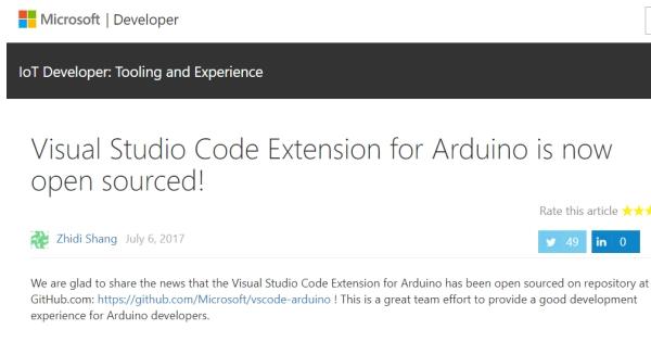 Microsoft、「visual studio code」のarduino用拡張機能をオープンソース化